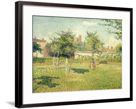 Woman on a Lawn-Camille Pissarro-Framed Art Print