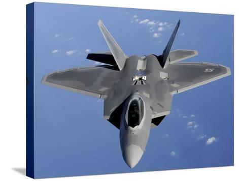 F-22 Raptor Moves into Position to Receive Fuel--Stretched Canvas Print