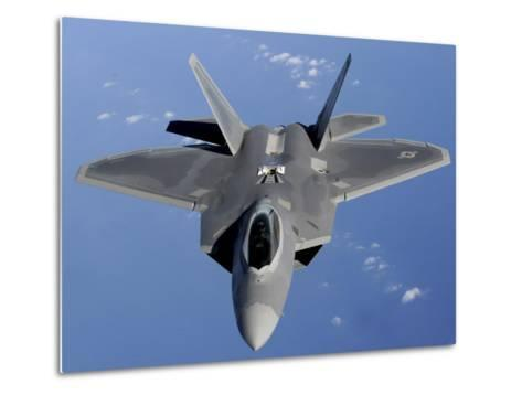 F-22 Raptor Moves into Position to Receive Fuel--Metal Print