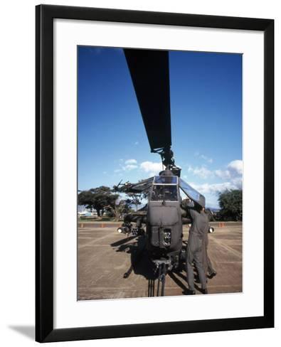 Air Crewmen Secure an AH-1 Cobra Attack Helicopter--Framed Art Print