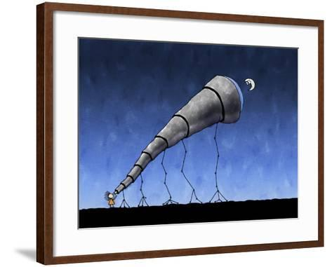 Illustration of a Child Looking at the Moon Through a Telescope--Framed Art Print