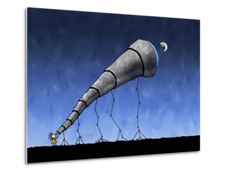 Illustration of a Child Looking at the Moon Through a Telescope--Metal Print
