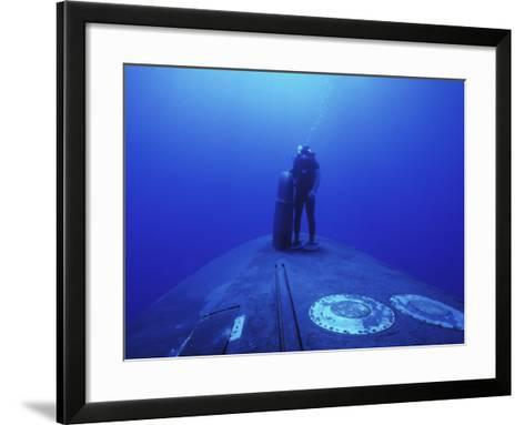 Navy Seal Stands Next to the Sonar Dome on the Bow of the USS Kamehameha--Framed Art Print