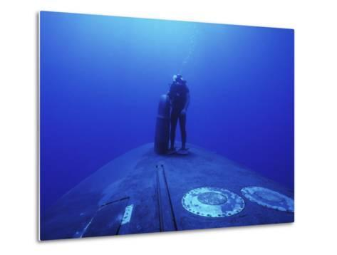 Navy Seal Stands Next to the Sonar Dome on the Bow of the USS Kamehameha--Metal Print