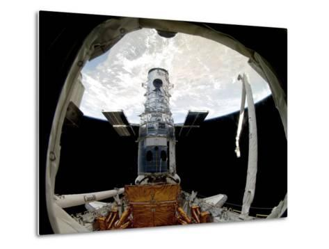 The Hubble Space Telescope, Locked Down in the Cargo Bay of Space Shuttle Atlantis--Metal Print