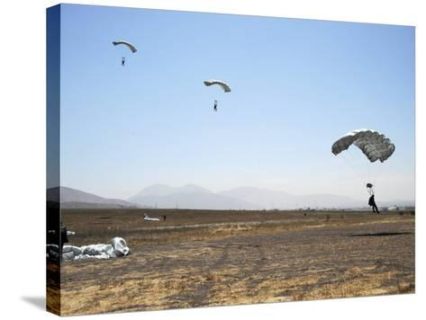 Freefall Parachute Jumpers Approaching the Trident Drop Zone in San Diego--Stretched Canvas Print