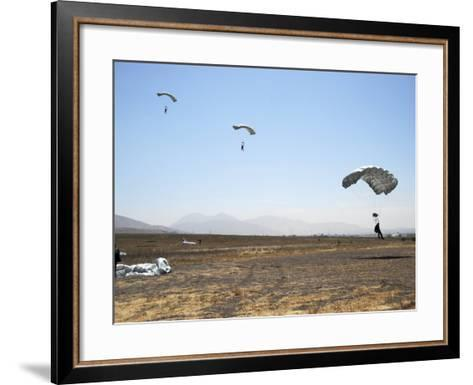 Freefall Parachute Jumpers Approaching the Trident Drop Zone in San Diego--Framed Art Print
