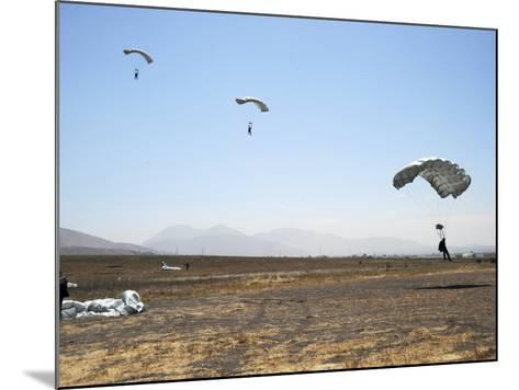 Freefall Parachute Jumpers Approaching the Trident Drop Zone in San Diego--Mounted Photographic Print