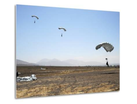 Freefall Parachute Jumpers Approaching the Trident Drop Zone in San Diego--Metal Print