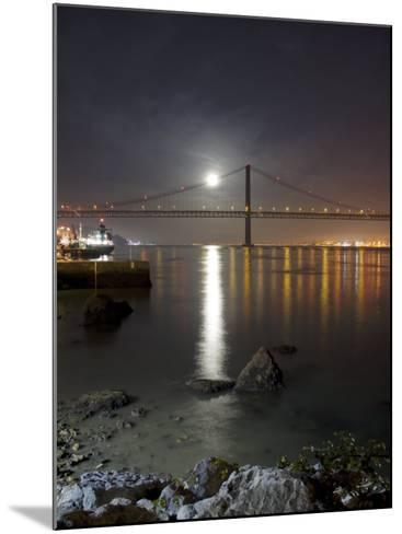 Harvest Moon Sets over the Tagus River and the City of Lisbon, Portugal--Mounted Photographic Print