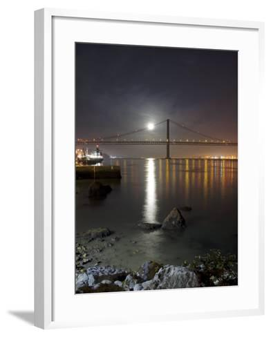 Harvest Moon Sets over the Tagus River and the City of Lisbon, Portugal--Framed Art Print