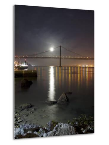 Harvest Moon Sets over the Tagus River and the City of Lisbon, Portugal--Metal Print