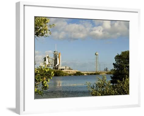 Space Shuttle Atlantis and Endeavour Sit on their Launch Pads at Kennedy Space Center--Framed Art Print
