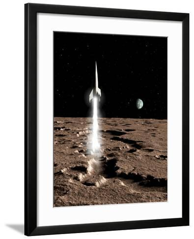 1950's View of a Stream-Lined Finned Spaceship Beginning its Landing Phase--Framed Art Print