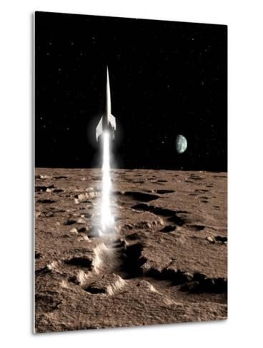 1950's View of a Stream-Lined Finned Spaceship Beginning its Landing Phase--Metal Print
