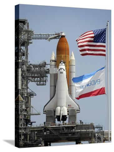 Space Shuttle Endeavour on the Launch Pad at Kennedy Space Center--Stretched Canvas Print