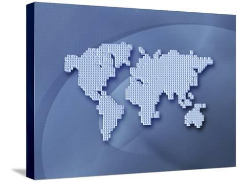 Digitally Generated Image of the World in Pixels--Stretched Canvas Print
