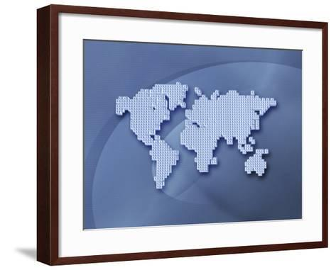 Digitally Generated Image of the World in Pixels--Framed Art Print