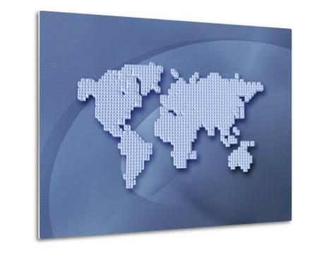 Digitally Generated Image of the World in Pixels--Metal Print