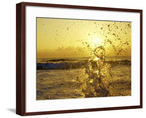 Water Splashing with Sun in the Background-Rob Lang-Framed Art Print