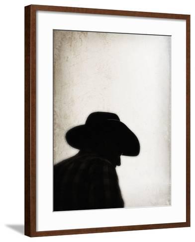 Silhouette of Cowboy-April Bauknight-Framed Art Print