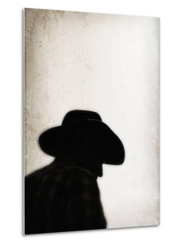 Silhouette of Cowboy-April Bauknight-Metal Print