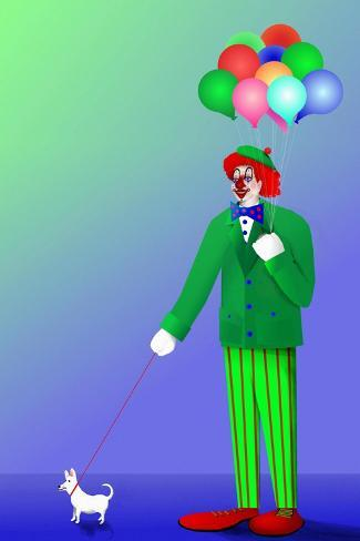 Clown Holding Balloons and Dog on Leash-Rich LaPenna-Stretched Canvas Print