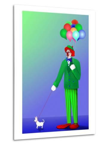 Clown Holding Balloons and Dog on Leash-Rich LaPenna-Metal Print