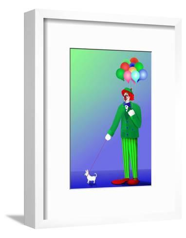 Clown Holding Balloons and Dog on Leash-Rich LaPenna-Framed Art Print