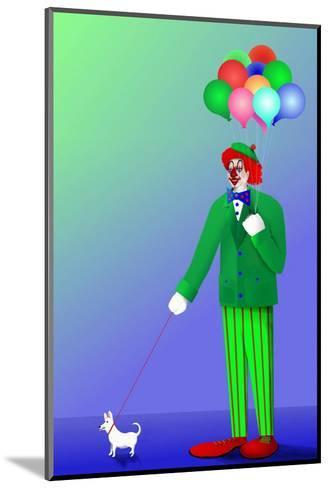Clown Holding Balloons and Dog on Leash-Rich LaPenna-Mounted Giclee Print