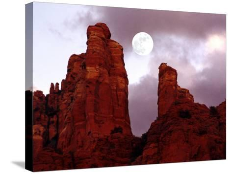 Red Rock with Moon and Sun-Margaret L. Jackson-Stretched Canvas Print