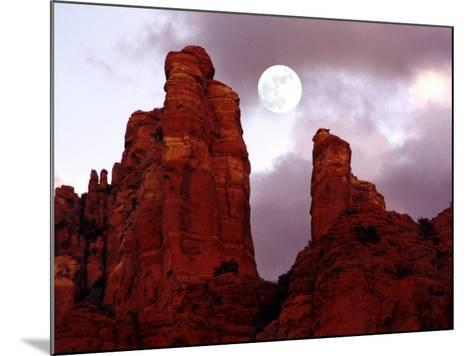 Red Rock with Moon and Sun-Margaret L. Jackson-Mounted Photographic Print