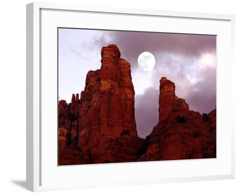 Red Rock with Moon and Sun-Margaret L. Jackson-Framed Art Print
