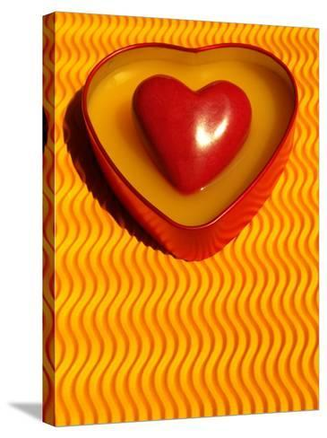 A Love Stone Heart with Yellow Background-Abdul Kadir Audah-Stretched Canvas Print
