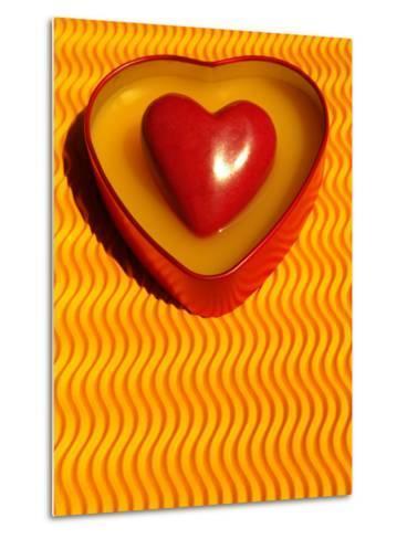 A Love Stone Heart with Yellow Background-Abdul Kadir Audah-Metal Print