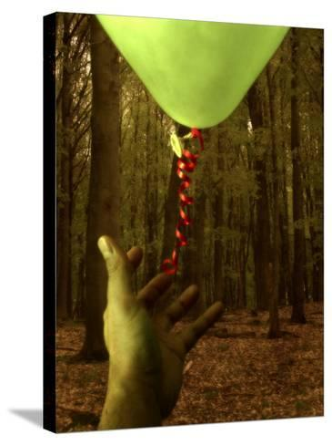 Hand Reaching for Balloon in Forest-Abdul Kadir Audah-Stretched Canvas Print