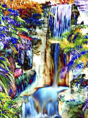 Waterfall in Glorious Tropical Color-Rich LaPenna-Stretched Canvas Print
