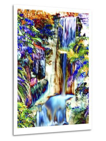 Waterfall in Glorious Tropical Color-Rich LaPenna-Metal Print