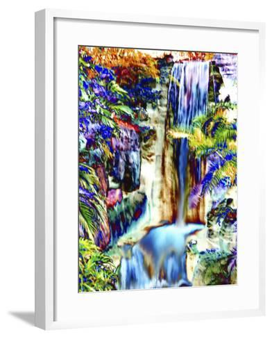 Waterfall in Glorious Tropical Color-Rich LaPenna-Framed Art Print