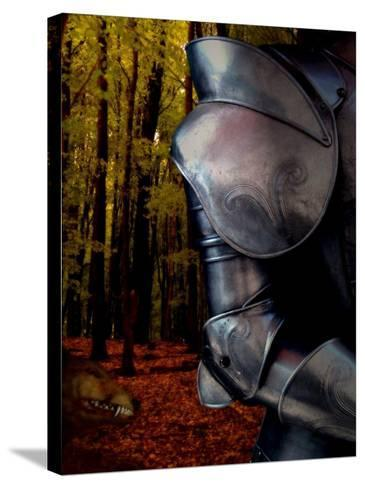 The Fox Hunts the Knight in Armor in the Forest-Abdul Kadir Audah-Stretched Canvas Print