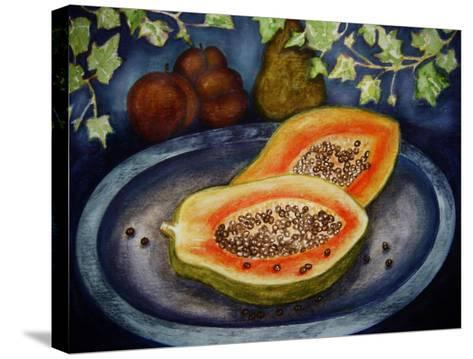 Assorted Fruit, Papaya, Plum, Pear Presented on Blue Platter Covered with Ivy-Emiko Aumann-Stretched Canvas Print