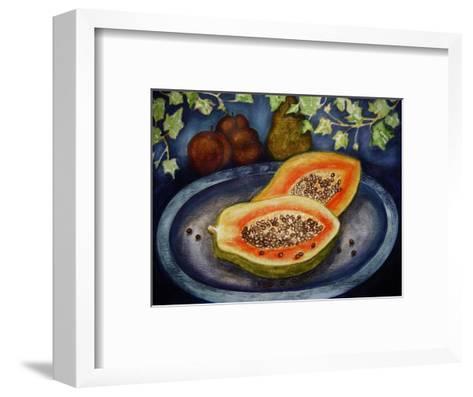 Assorted Fruit, Papaya, Plum, Pear Presented on Blue Platter Covered with Ivy-Emiko Aumann-Framed Art Print
