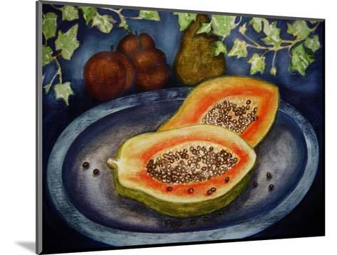 Assorted Fruit, Papaya, Plum, Pear Presented on Blue Platter Covered with Ivy-Emiko Aumann-Mounted Giclee Print