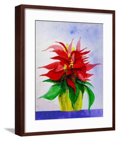 Poinsetta Flower in Pot-Rich LaPenna-Framed Art Print