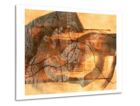 Abstract Image in Beige, Brown, and Black-Daniel Root-Metal Print