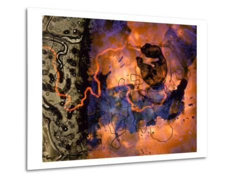 Abstract Image in Red, Blue, and Green-Daniel Root-Metal Print