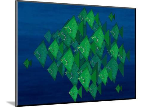 School of Green Triangle Fish on Blue Underwater Background-Rich LaPenna-Mounted Giclee Print