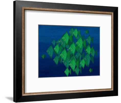 School of Green Triangle Fish on Blue Underwater Background-Rich LaPenna-Framed Art Print