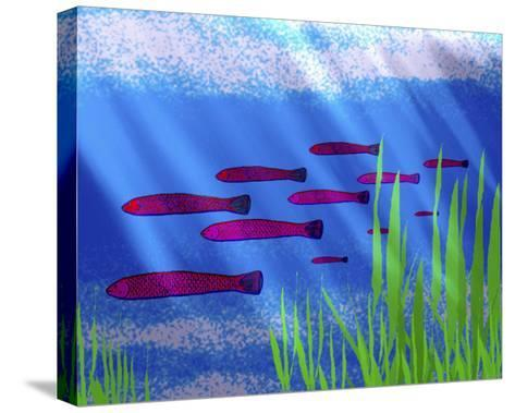 Purple Fish in Calm Blue Water with Seagrass-Rich LaPenna-Stretched Canvas Print