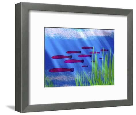 Purple Fish in Calm Blue Water with Seagrass-Rich LaPenna-Framed Art Print